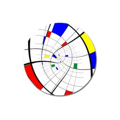 Swirl Grid With Colors Red Blue Green Yellow Spiral Magnet 3  (round) by designworld65