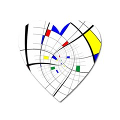 Swirl Grid With Colors Red Blue Green Yellow Spiral Heart Magnet by designworld65