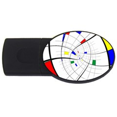 Swirl Grid With Colors Red Blue Green Yellow Spiral Usb Flash Drive Oval (2 Gb)  by designworld65