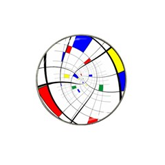 Swirl Grid With Colors Red Blue Green Yellow Spiral Hat Clip Ball Marker by designworld65