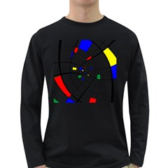 Swirl Grid With Colors Red Blue Green Yellow Spiral Long Sleeve Dark T Shirts by designworld65