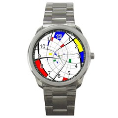 Swirl Grid With Colors Red Blue Green Yellow Spiral Sport Metal Watch by designworld65