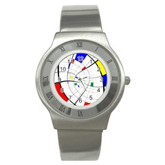 Swirl Grid With Colors Red Blue Green Yellow Spiral Stainless Steel Watch by designworld65