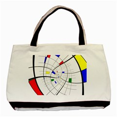Swirl Grid With Colors Red Blue Green Yellow Spiral Basic Tote Bag by designworld65