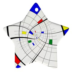 Swirl Grid With Colors Red Blue Green Yellow Spiral Star Ornament (two Sides)  by designworld65