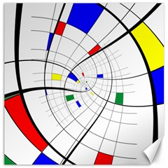 Swirl Grid With Colors Red Blue Green Yellow Spiral Canvas 16  X 16   by designworld65