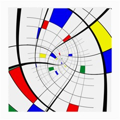 Swirl Grid With Colors Red Blue Green Yellow Spiral Medium Glasses Cloth by designworld65