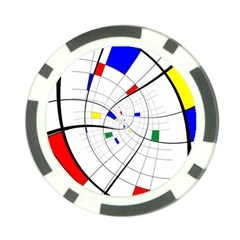 Swirl Grid With Colors Red Blue Green Yellow Spiral Poker Chip Card Guards by designworld65