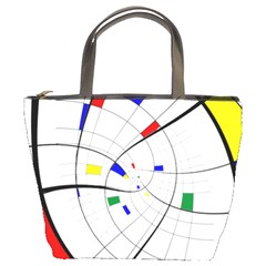 Swirl Grid With Colors Red Blue Green Yellow Spiral Bucket Bags by designworld65