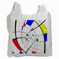Swirl Grid With Colors Red Blue Green Yellow Spiral Recycle Bag (two Side)  by designworld65