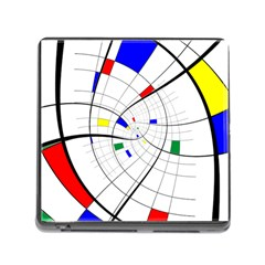 Swirl Grid With Colors Red Blue Green Yellow Spiral Memory Card Reader (square) by designworld65