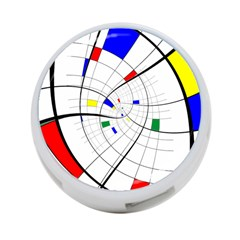 Swirl Grid With Colors Red Blue Green Yellow Spiral 4 Port Usb Hub (two Sides)  by designworld65