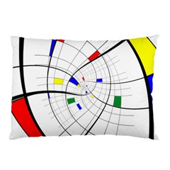 Swirl Grid With Colors Red Blue Green Yellow Spiral Pillow Case (two Sides) by designworld65