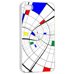 Swirl Grid With Colors Red Blue Green Yellow Spiral Apple Iphone 4/4s Seamless Case (white) by designworld65