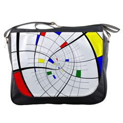 Swirl Grid With Colors Red Blue Green Yellow Spiral Messenger Bags by designworld65