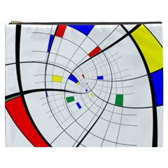 Swirl Grid With Colors Red Blue Green Yellow Spiral Cosmetic Bag (xxxl)  by designworld65