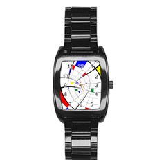 Swirl Grid With Colors Red Blue Green Yellow Spiral Stainless Steel Barrel Watch by designworld65