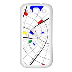 Swirl Grid With Colors Red Blue Green Yellow Spiral Samsung Galaxy S3 Back Case (white) by designworld65