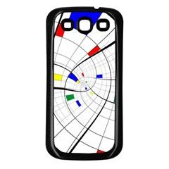 Swirl Grid With Colors Red Blue Green Yellow Spiral Samsung Galaxy S3 Back Case (black) by designworld65