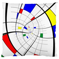 Swirl Grid With Colors Red Blue Green Yellow Spiral Large Flano Cushion Case (one Side) by designworld65