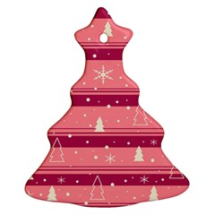 Pink Xmas Christmas Tree Ornament (2 Sides) by Valentinaart