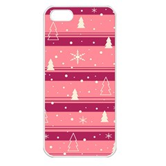 Pink Xmas Apple Iphone 5 Seamless Case (white) by Valentinaart