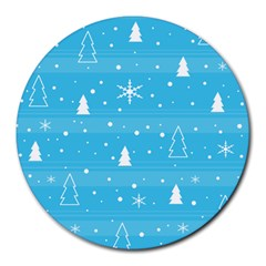 Blue Xmas Round Mousepads by Valentinaart