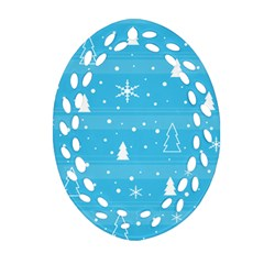 Blue Xmas Oval Filigree Ornament (2-Side)  by Valentinaart