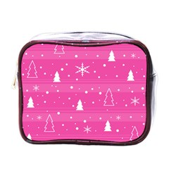 Magenta Xmas Mini Toiletries Bags by Valentinaart