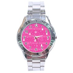 Magenta Xmas Stainless Steel Analogue Watch by Valentinaart