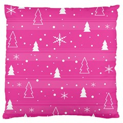 Magenta Xmas Large Cushion Case (one Side) by Valentinaart