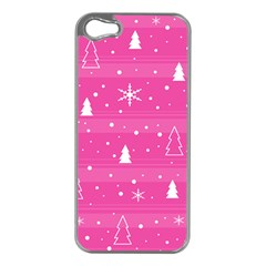 Magenta Xmas Apple Iphone 5 Case (silver) by Valentinaart