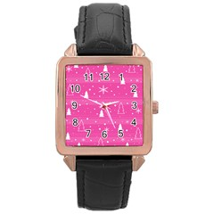 Magenta Xmas Rose Gold Leather Watch  by Valentinaart