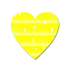 Yellow Xmas Heart Magnet by Valentinaart