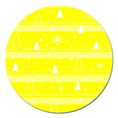 Yellow Xmas Magnet 5  (round) by Valentinaart