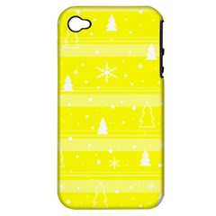 Yellow Xmas Apple Iphone 4/4s Hardshell Case (pc+silicone) by Valentinaart
