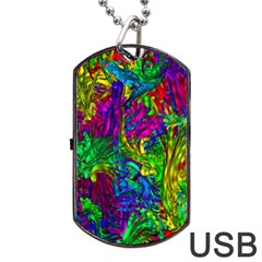 Hot Liquid Abstract A Dog Tag Usb Flash (two Sides)  by MoreColorsinLife
