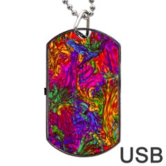 Hot Liquid Abstract B  Dog Tag USB Flash (One Side) by MoreColorsinLife