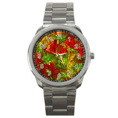 Hot Liquid Abstract C Sport Metal Watch by MoreColorsinLife