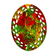 Hot Liquid Abstract C Oval Filigree Ornament (2-Side)  by MoreColorsinLife