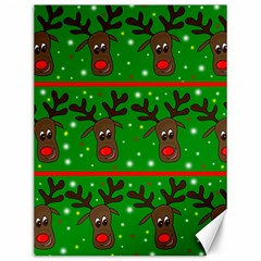 Reindeer Pattern Canvas 12  X 16   by Valentinaart