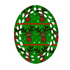 Reindeer Pattern Ornament (oval Filigree)  by Valentinaart