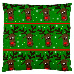 Reindeer Pattern Large Cushion Case (one Side) by Valentinaart