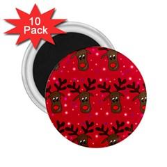 Reindeer Xmas Pattern 2 25  Magnets (10 Pack)  by Valentinaart
