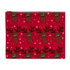 Reindeer Xmas Pattern Cosmetic Bag (xl) by Valentinaart