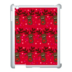 Reindeer Xmas Pattern Apple Ipad 3/4 Case (white) by Valentinaart