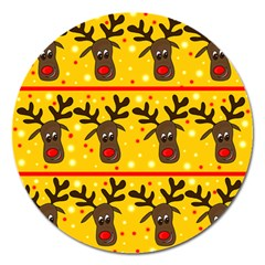Christmas reindeer pattern Magnet 5  (Round)