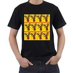 Christmas reindeer pattern Men s T-Shirt (Black) (Two Sided)