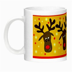 Christmas Reindeer Pattern Night Luminous Mugs by Valentinaart