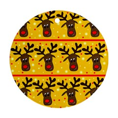 Christmas Reindeer Pattern Round Ornament (two Sides)  by Valentinaart